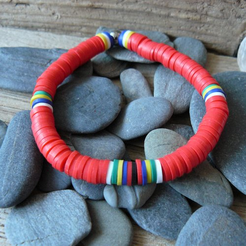 Bracelet surf heishi rouge, bracelet surf, rouge