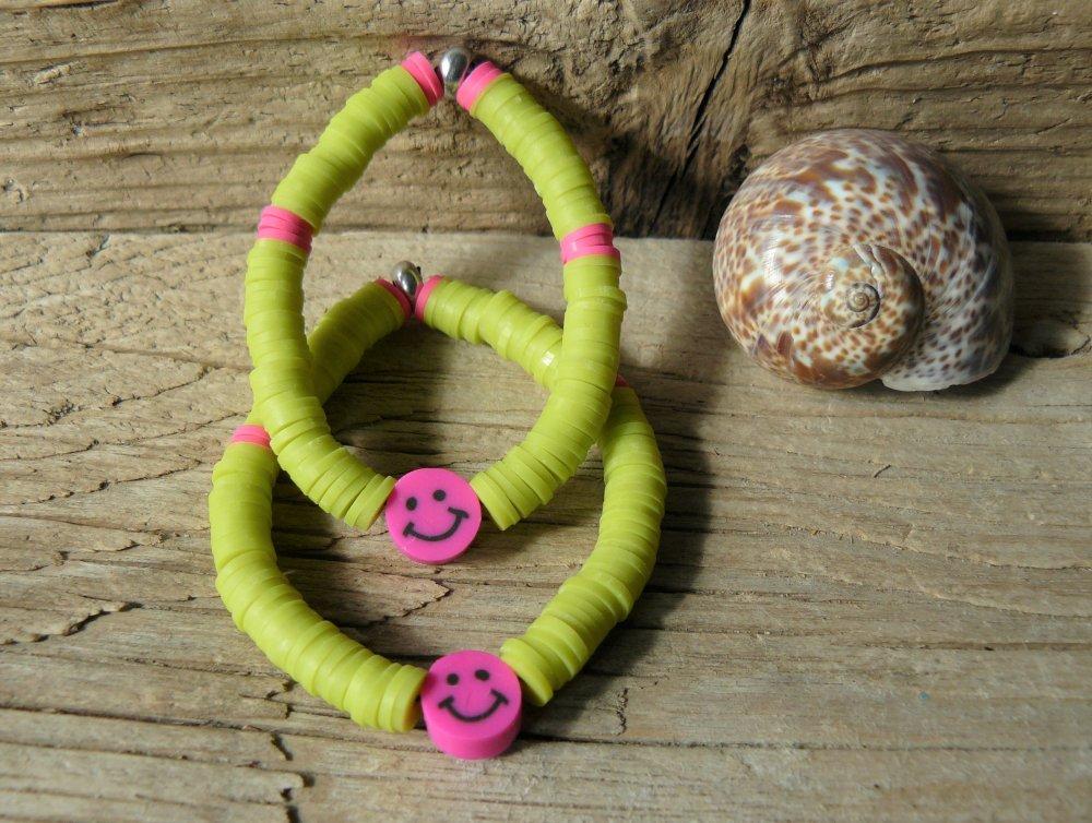 Bracelet enfant sourire, bracelets enfants, émoticône, smiley