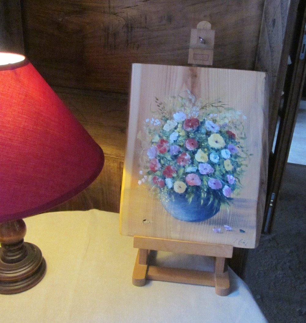 Fleurs En Bouquet Tableau Peinture Acrylique Sur Bois Fait Main Modele Unique Tableau De Bois Avec Ecorce Un Grand Marche