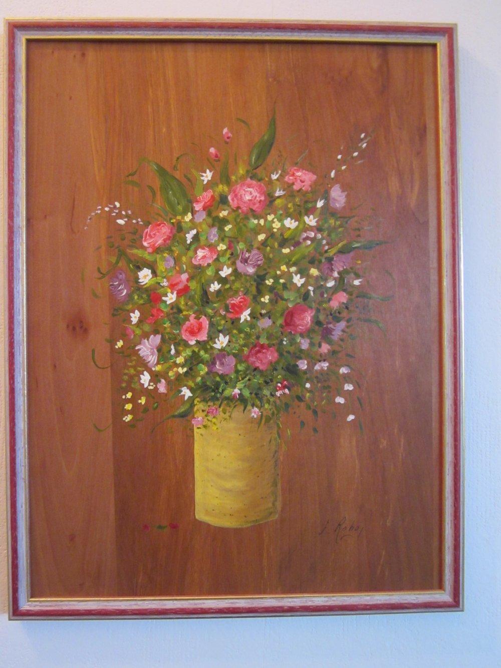 Fleurs En Bouquet Tableau Peinture Acrylique Sur Bois Fruitier Fait Main Modele Unique Tableau Encadre Un Grand Marche