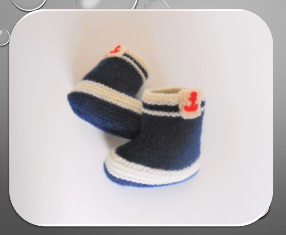 bonnet marin et chaussons assortis 3 mois