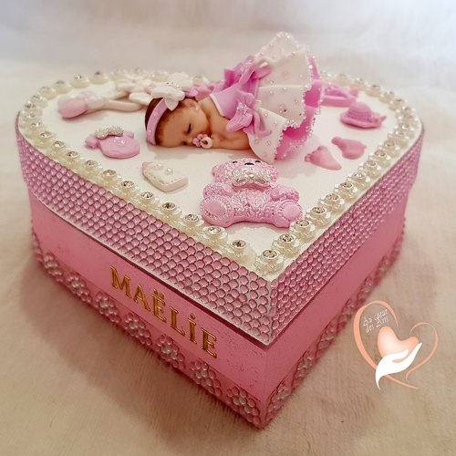 Boîte de naissance bébé fille  - au coeur de arts