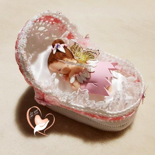 Couffin boite à dragées en coton crocheté à la main bébé fille fée clochette – au cœur des arts