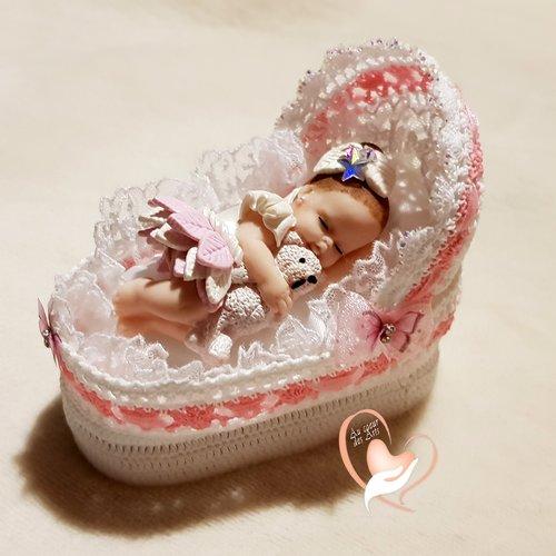 Couffin boite à dragées en coton crocheté à la main bébé fille – au cœur des arts