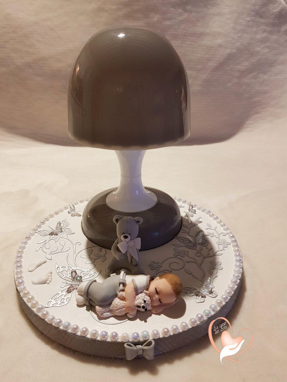 Lampe de chevet Veilleuse lumineuse sur socle en bois bébé garçon
