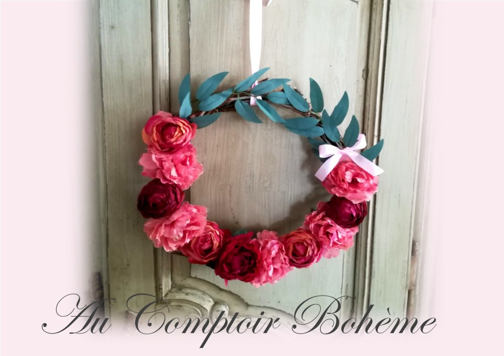 couronne florale shabby rouge