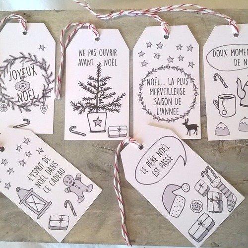 6 étiquettes De Noël Dessins Naïfs Noir Et Blanc Un Grand
