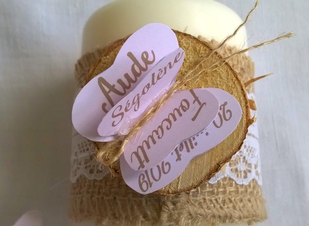 Marques places mariage, 2 bougies champêtre romantique, papillons personnalisés, verts fleuris ou roses