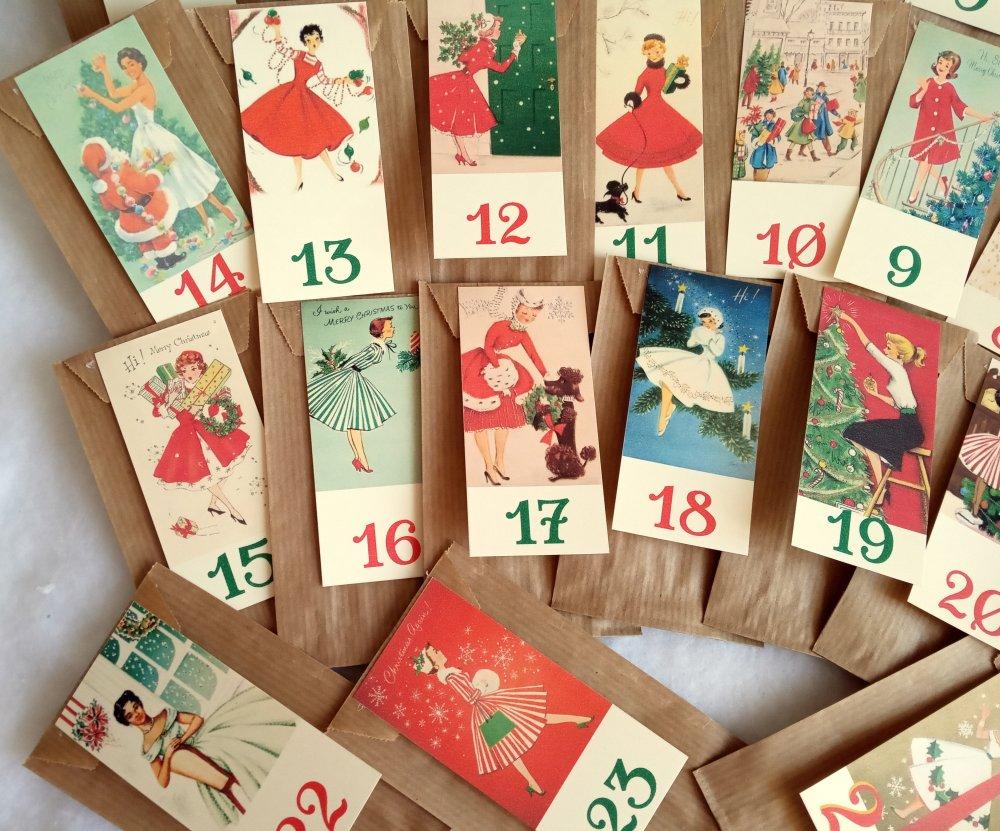 Calendrier Avent vintage, dames et demoiselles vintage, 24 sachets kraft beige, garni surprises & bonbons