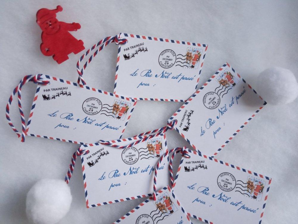 Étiquettes cadeau Noël, 6 étiquettes façon enveloppes par avion, le Père Noël est passé, personnalisables