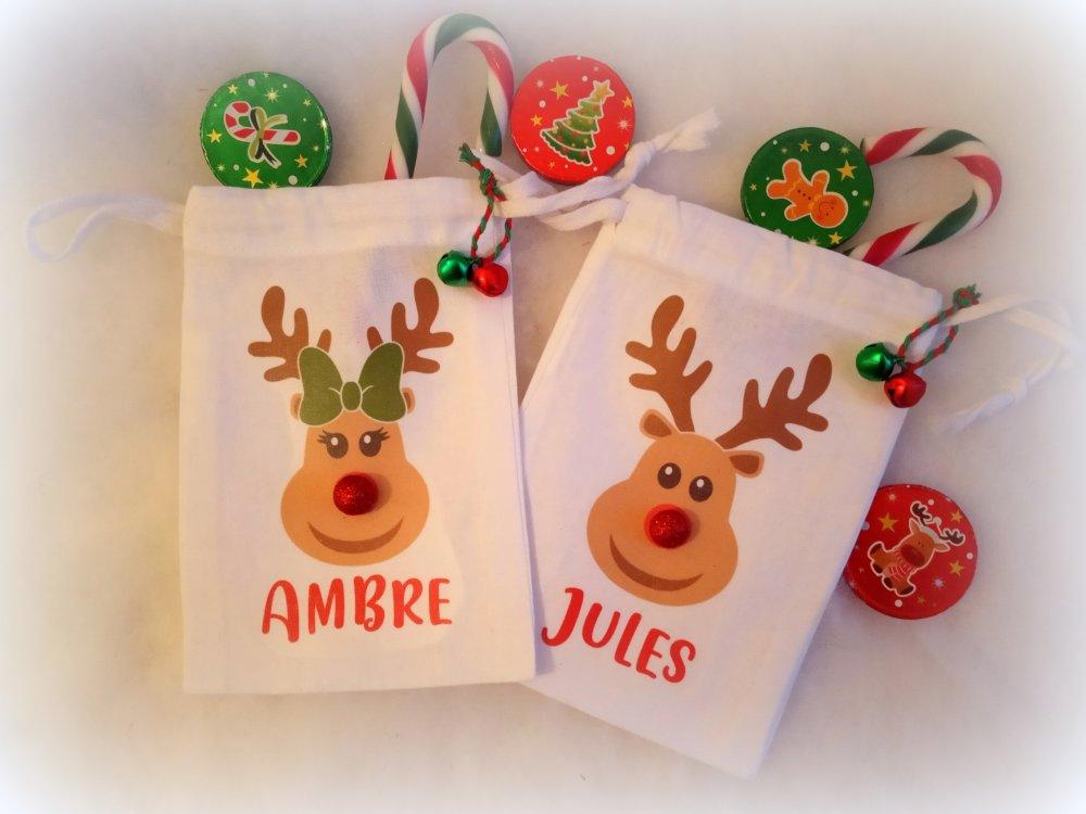 Sac cadeau Noël, renne au nez rouge,  Personnalisable, Mini sac tissu, filles, 9,5 x 15 cm