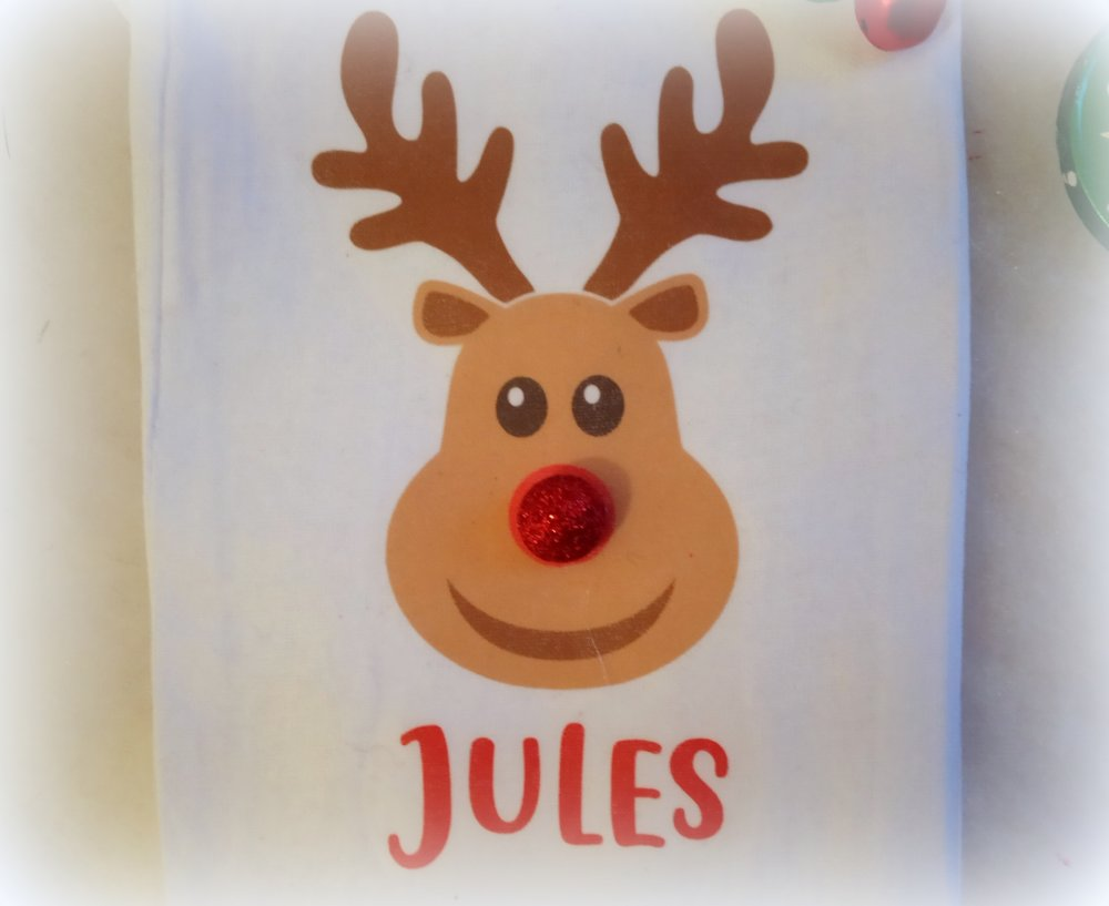 Sac cadeau Noël, renne au nez rouge,  Personnalisable, Mini sac tissu, garçons, 9,5 x 15 cm