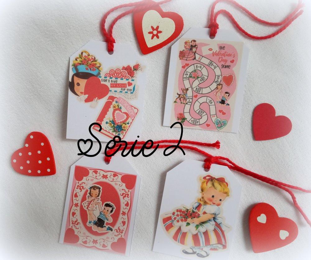 Saint Valentin étiquettes, 4 étiquettes vintages, 2 séries au choix, 8 images vintages différentes