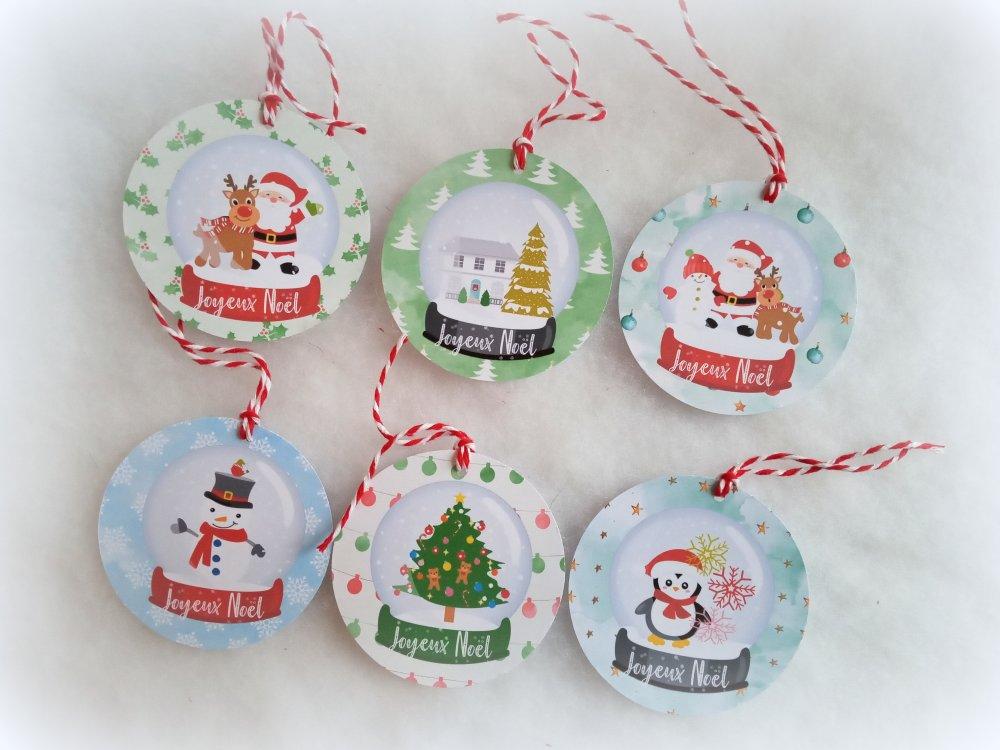 6 étiquettes Noël rondes, boules de neige, 6 motifs différents, avec ficelle