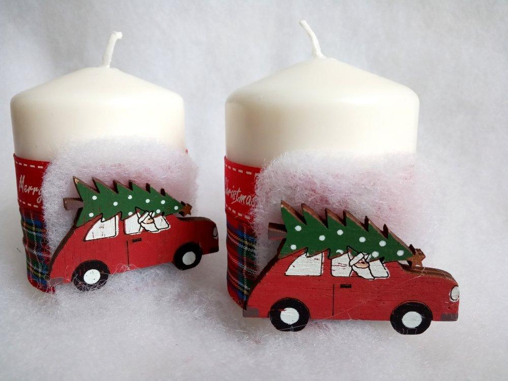 2 bougies Noël, voiture avec sapin, rubans écossais et rouge, déco table de Noël, 8 cm hauteur,