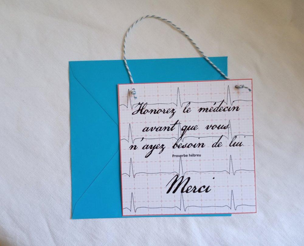 Carte merci au médecin, à suspendre  + enveloppe bleue ou kraft