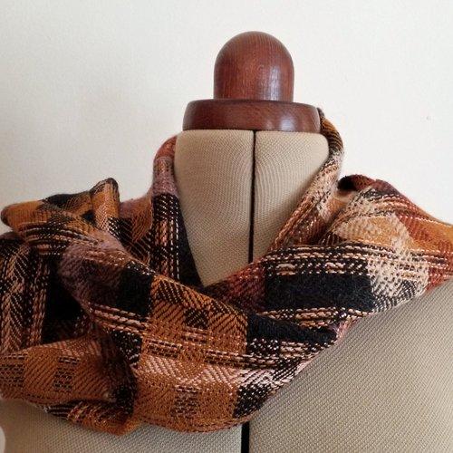 Echarpe tissée main, en laine et soie filés à la main