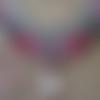Collier en micro macramé plastron et quart rose