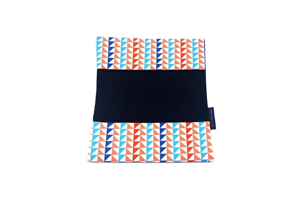 Porte chéquier en coton - Les triangles roses