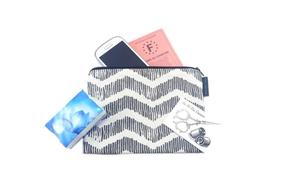 Trousse plate en coton - Les vagues grises