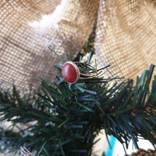 Bague simple - agate rouge - 12mm