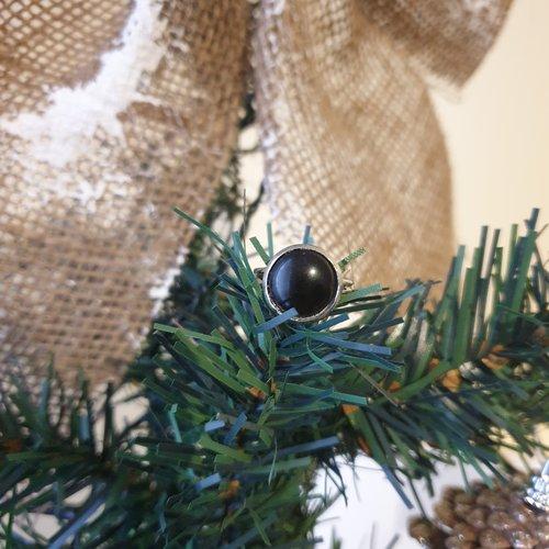 Bague simple - onyx noire - 12mm