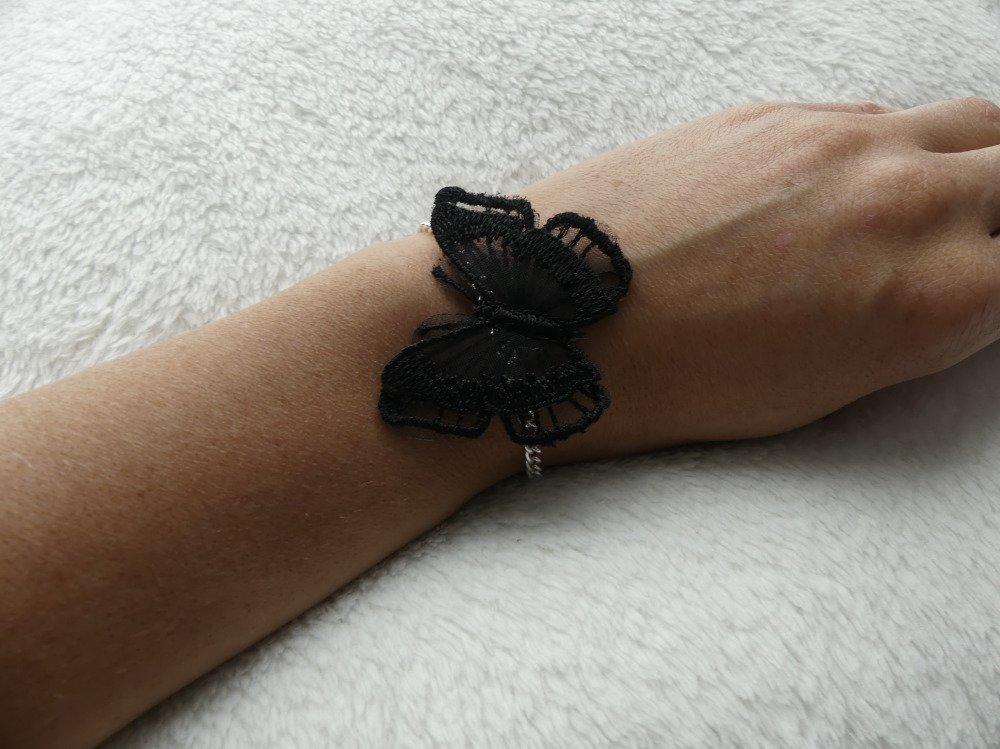 Bracelet mariage papillon dentelle noire