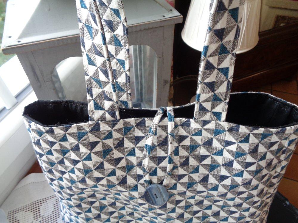 Sac trapèze en tissu d'ameublement à petits triangles marine blanc gris et bleu paon