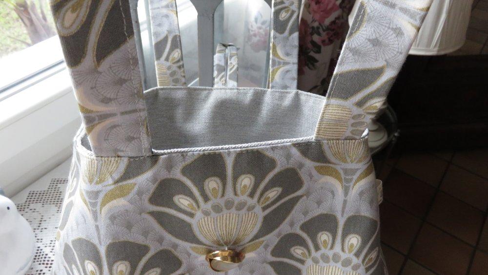 Sac trapèze en coton d'ameublement gris et or