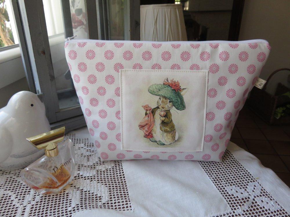 Grande trousse de toilette/Image BeatrixPotter/coton blanc roues rose/