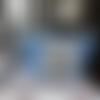 Trousse pour enfant en toile enduite vichy bleu et blanc avec vignette pierre lapin de beatrix potter