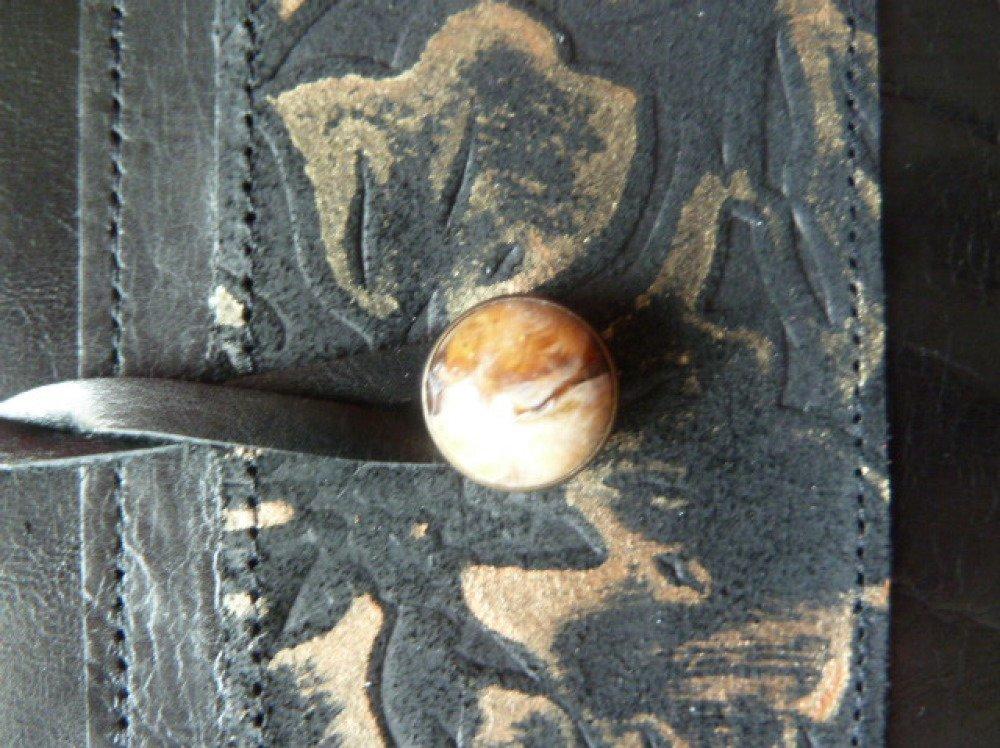 Pour livre de 18 cm de hauteur maxi ,protège-livre ajustable en cuir de veau noir