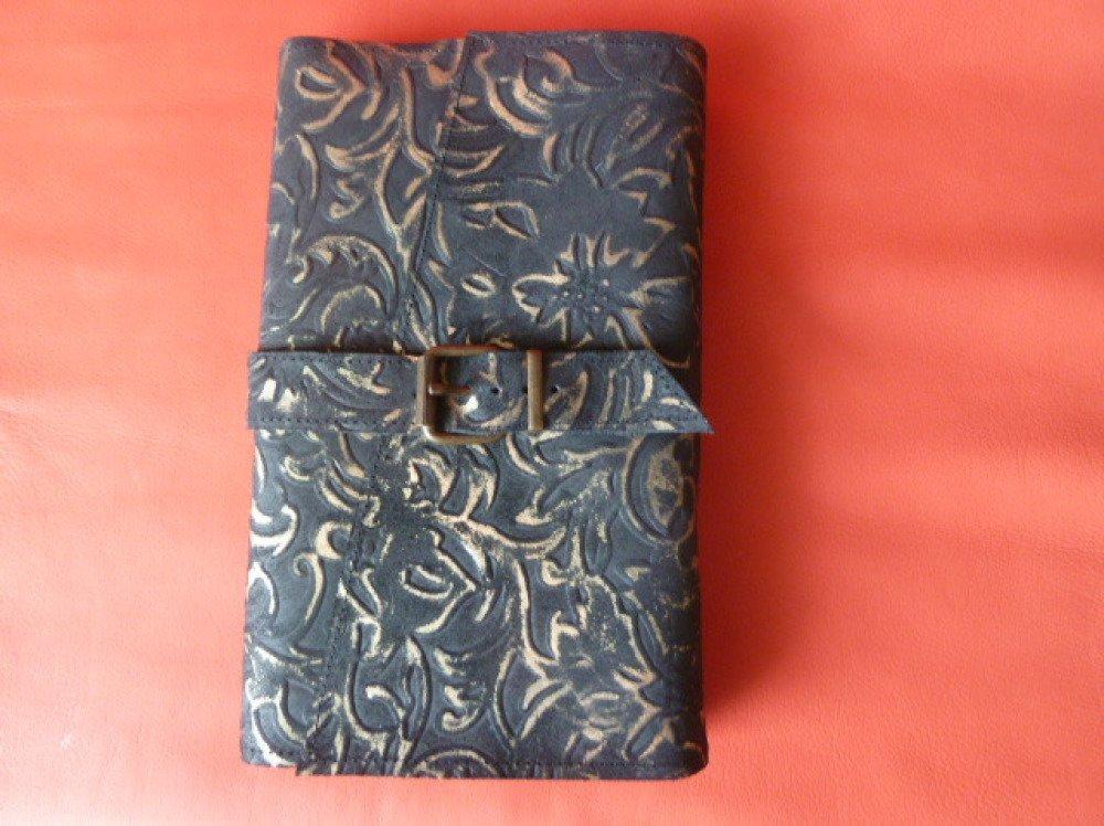 Pour livres de 20 cm de hauteur maxi , protège-livre ajustable en cuir de vachette imprimé noir et doré