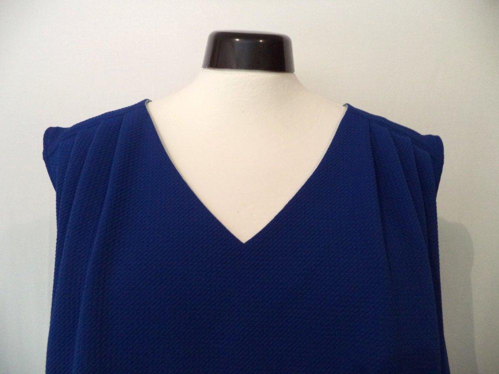 """Robe femme jersey extensible """"nid d'abeille"""", plis d'aisance sous empiècements, 2 grandes poches."""