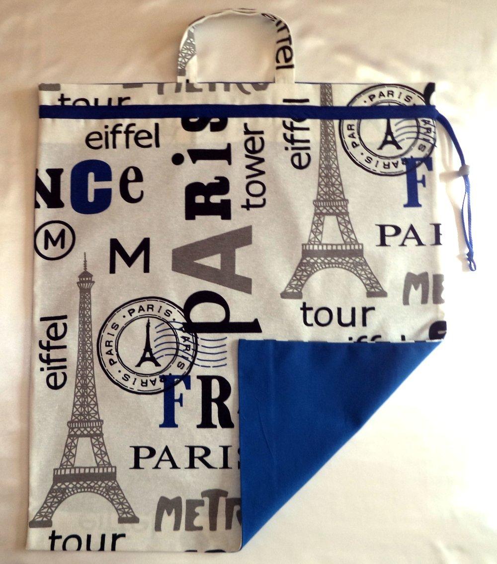 Sac à linge grand format, pour ados, étudiants ou sac de transport, avec poignées et lien coulissant.
