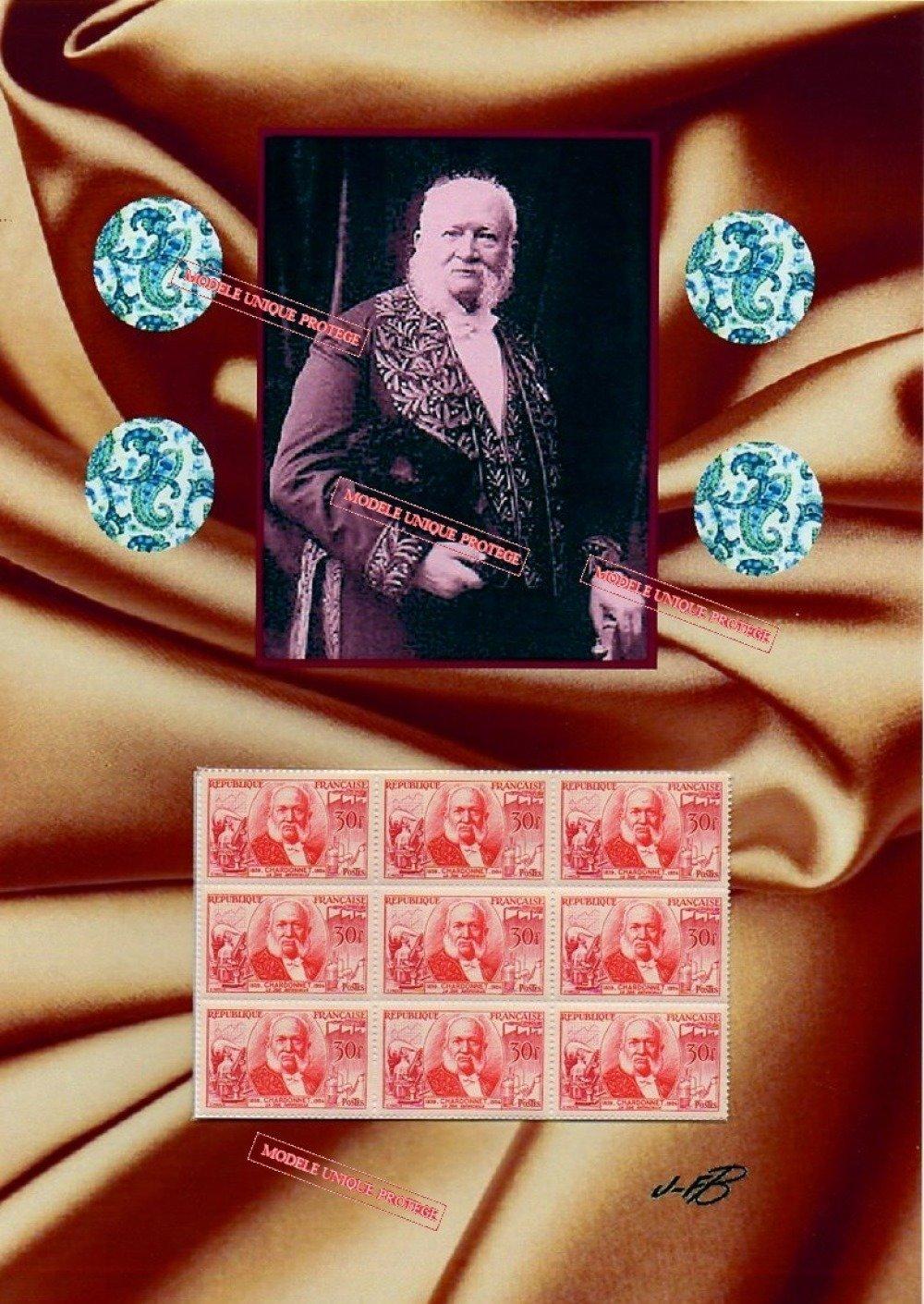 Comte de Chardonnet, Louis-Maurice-Hilaire de Bernigaud, Inventeur de la soie artificielle, timbres vintage, montage photo, art numérique