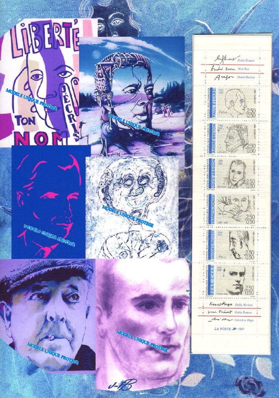 Poètes français, surréalisme, art numérique, montage photo, carnet vintage