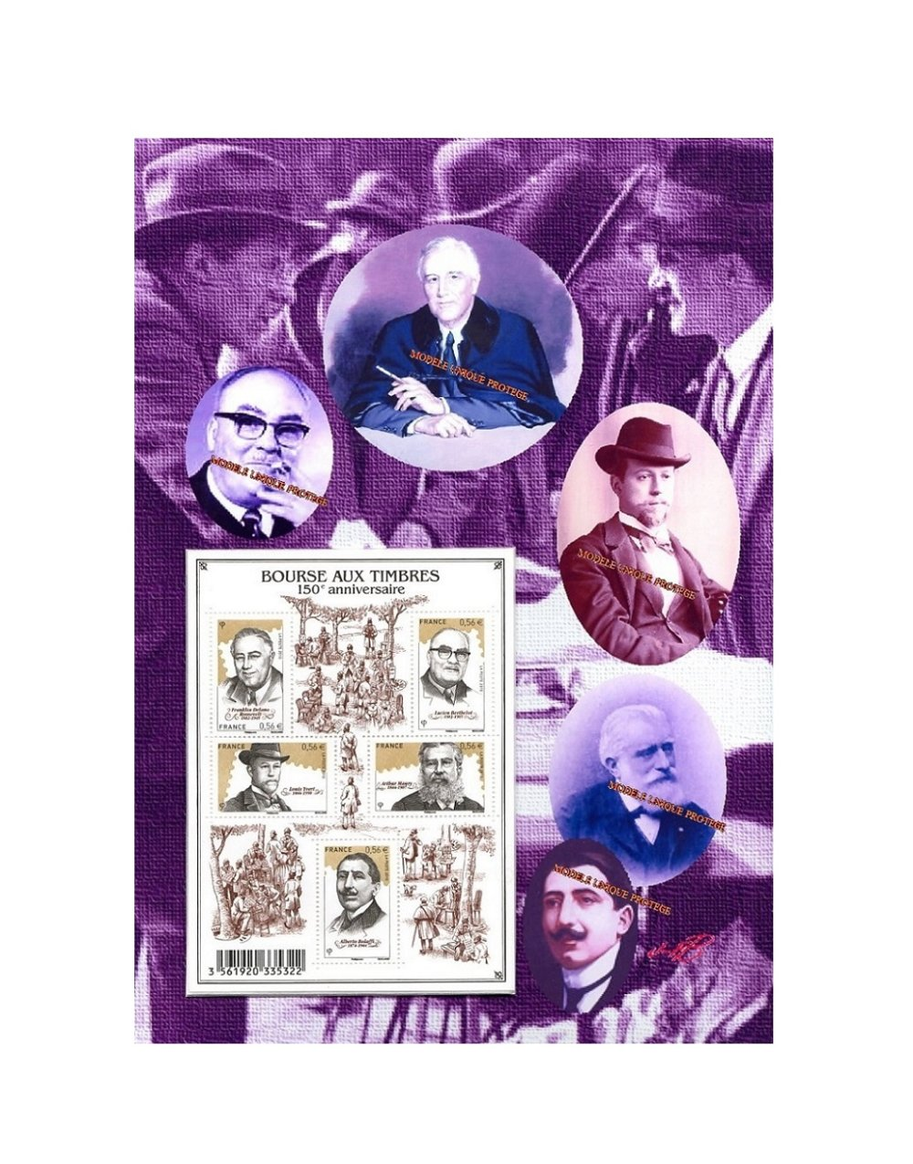Bourse aux Timbres, philatélie, Franklin Delano Roosevelt, histoire dans un Montage photo unique créé par JFB.