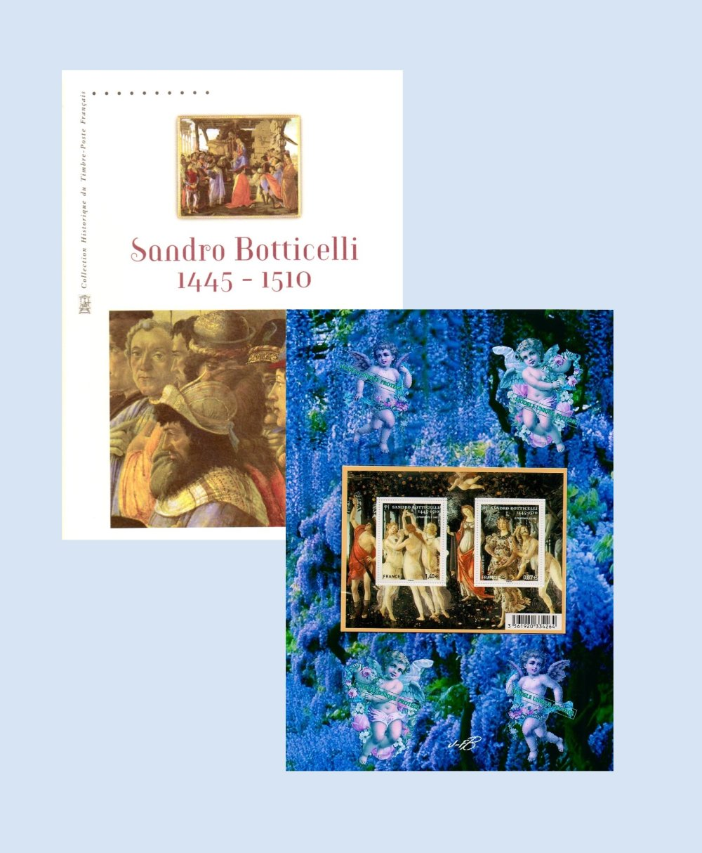 "Le Printemps de Botticelli ou "" le jardin de vénus "". document philatélique 1er jour et bloc sur montage photo par JFB."