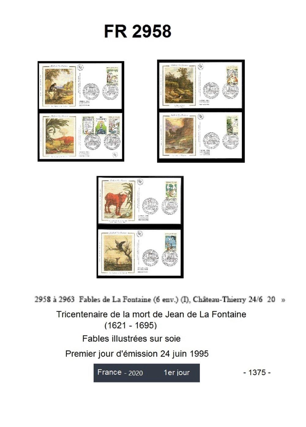 Jean de La Fontaine et ses fables.  Cadeau de Noël. tirages photos avec enveloppes 1er jour. Une création JFB