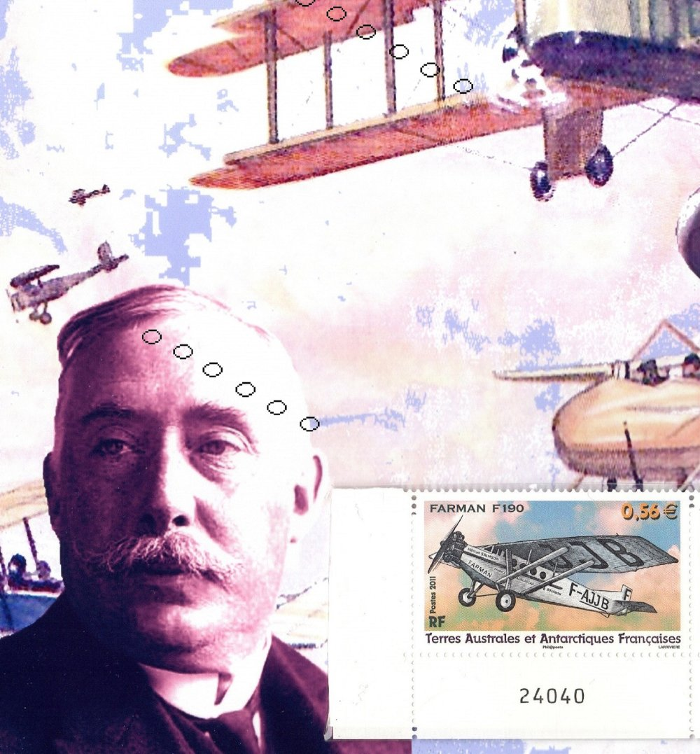 Les lignes Farman, compagnies aériennes, tirage photo A4 avec triptyque postal, une création JFB