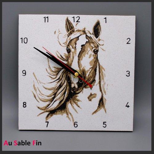 Horloge en sable - cheval