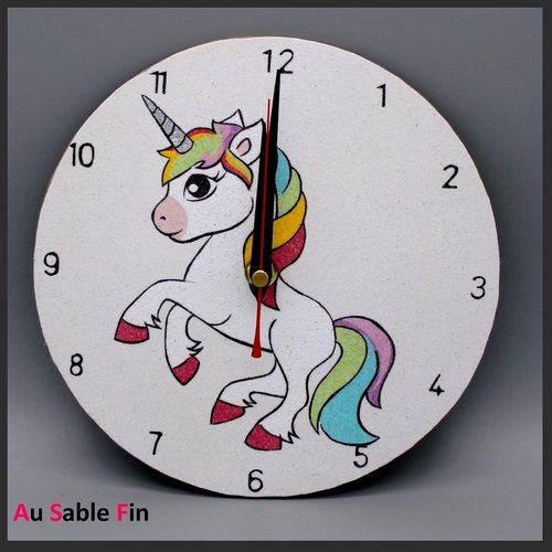 Horloge en sable - licorne