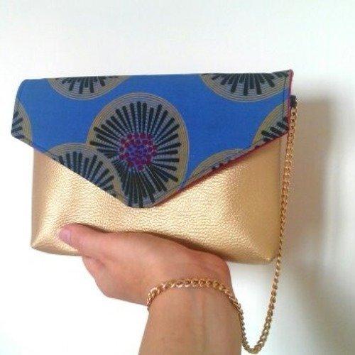 Sac pochette en wax bleu et simili cuir or, pochette ethnique, sac de soirée