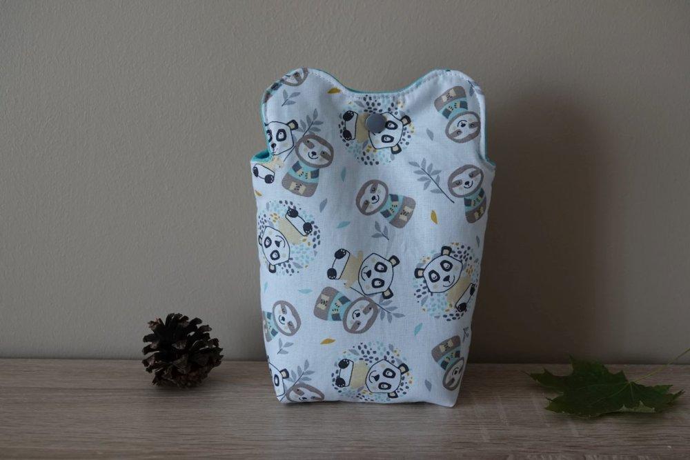 Lingettes lavables forme de panda et leur panière coordonnée