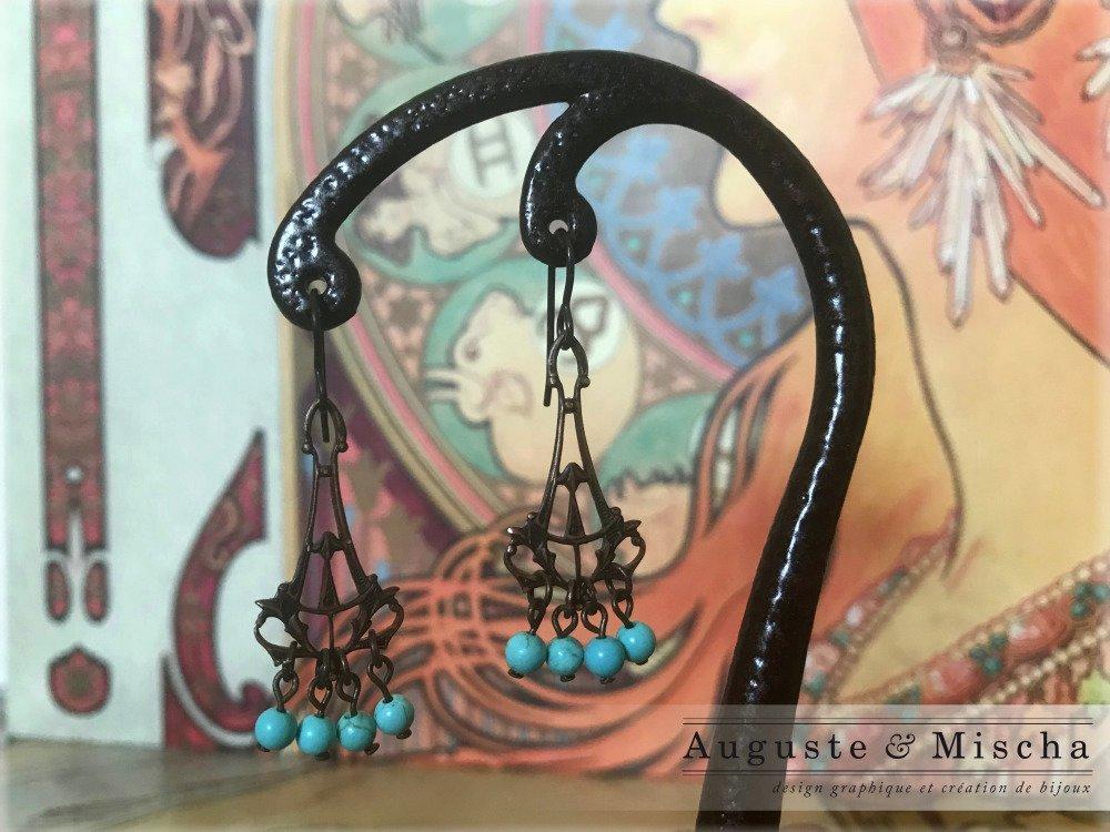 Boucles d'oreille Art Nouveau - Turquoises