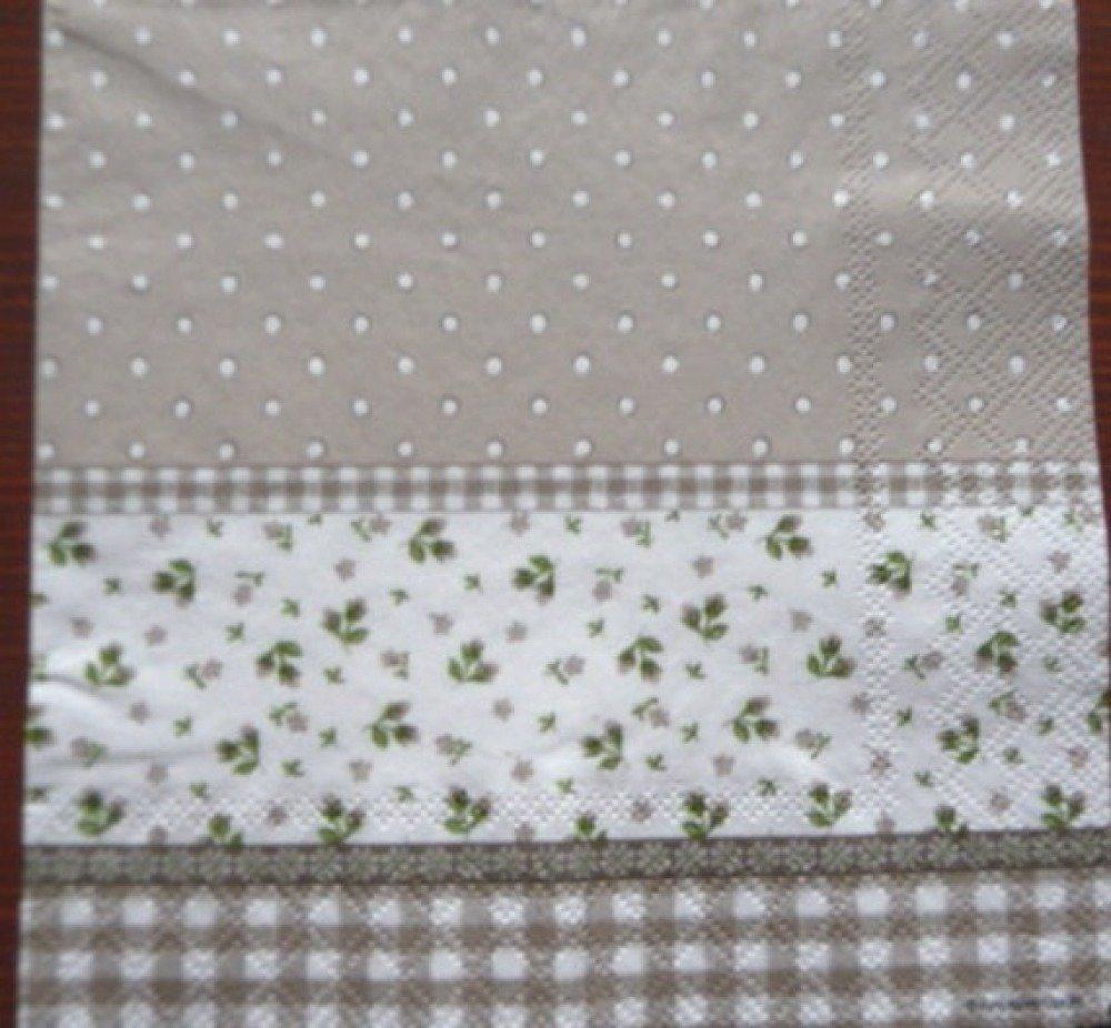 Serviette en papier fleurettes,pois et carreaux fond gris