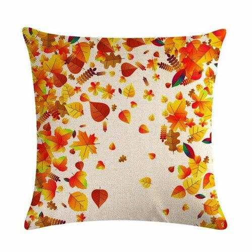 Housse de coussin vermeil - standard lin - collection automne et feuilles oranges et rouges