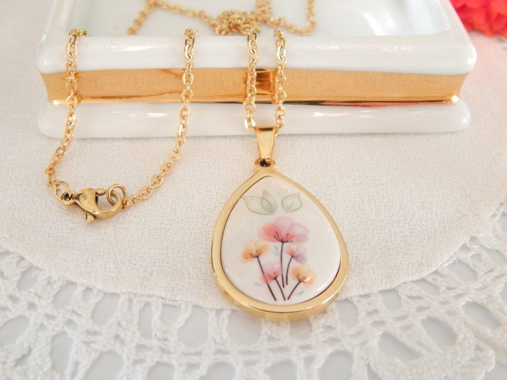 Collier goutte fleurs pastels
