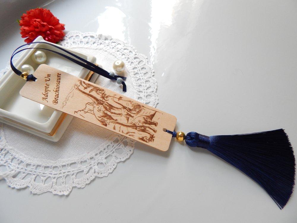 Marque-pages brachiosaure bois gravé